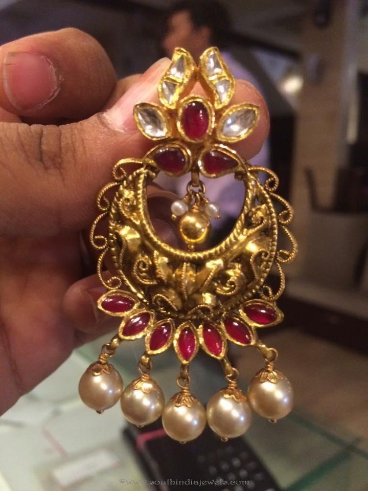 Gold Antique Chandbali Designs, Gold Antique Chandbali models, Gold Antique Chandbali Collections