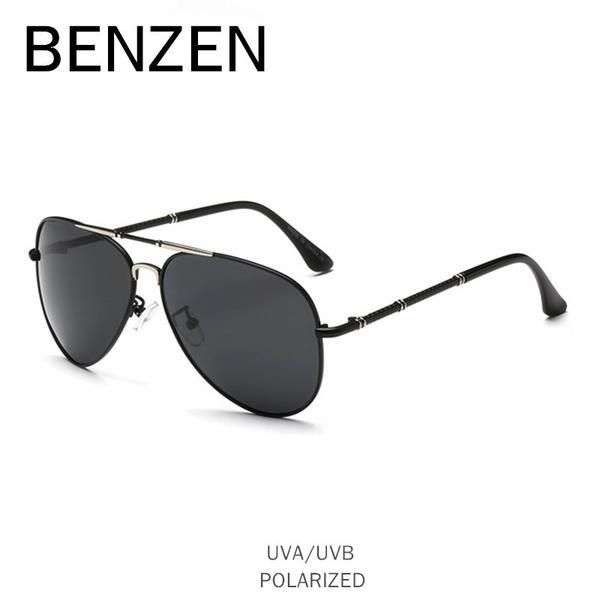 d4ad14f98cd BENZEN Alloy HD Polarized Sunglasses Men Classic Aviation Male Driver  Driving Mirror Glasses Shades With Case 9250