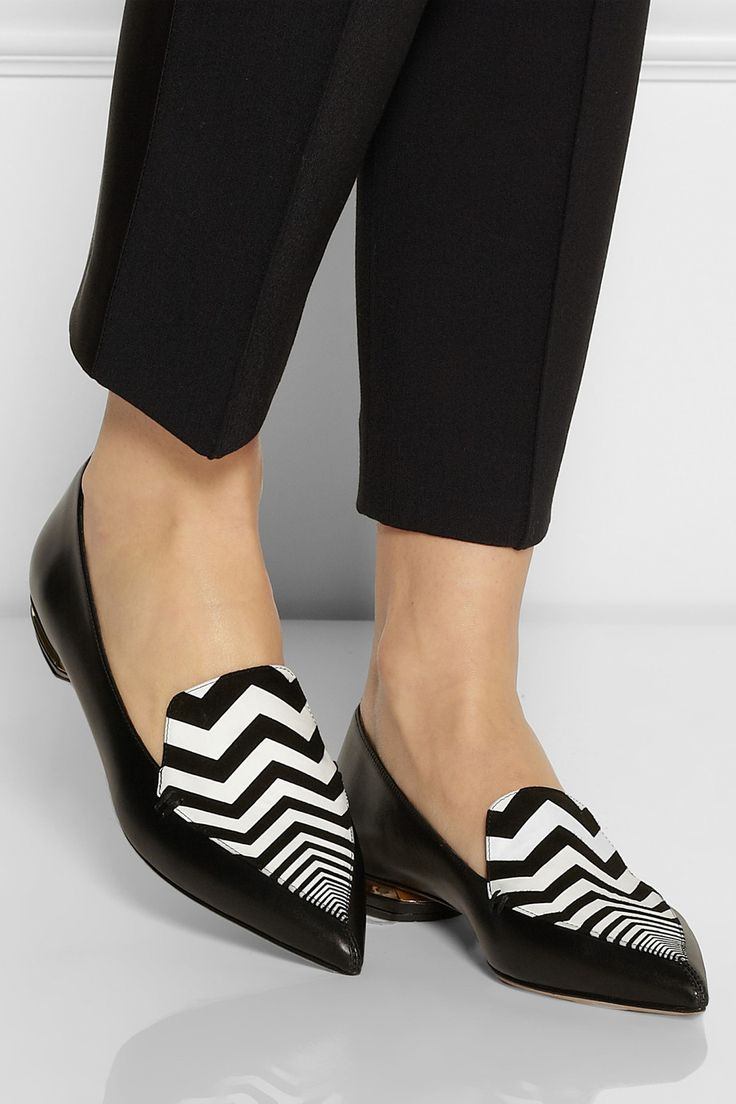 Nicholas Kirkwood | Zigzag-print suede and leather point-toe flats | NET-A-PORTER.COM