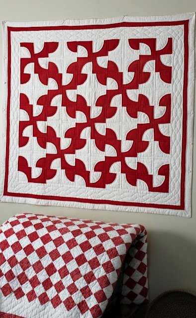Favorite red & white quilt pattern...I think it's called: Drunkard's Path.