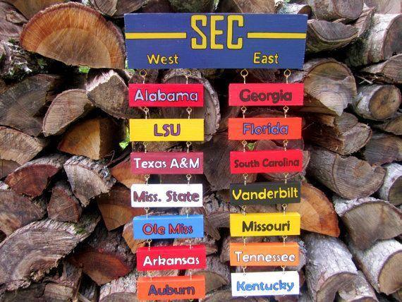 SEC Teams Standings Football Signs, Man Cave Decor, Football Wall Decorations, Man Cave Gifts for Boyfriend or Dad #mancave