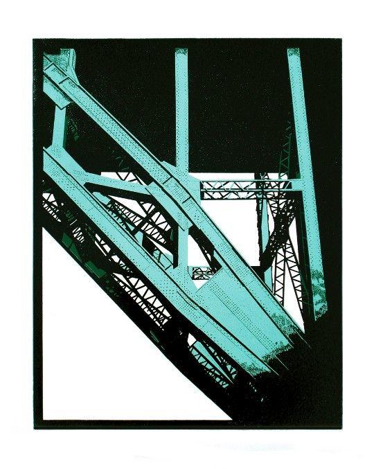 Tyne Bridge, Newcastle Linocut by Graham Spice. I love the colour palette. S