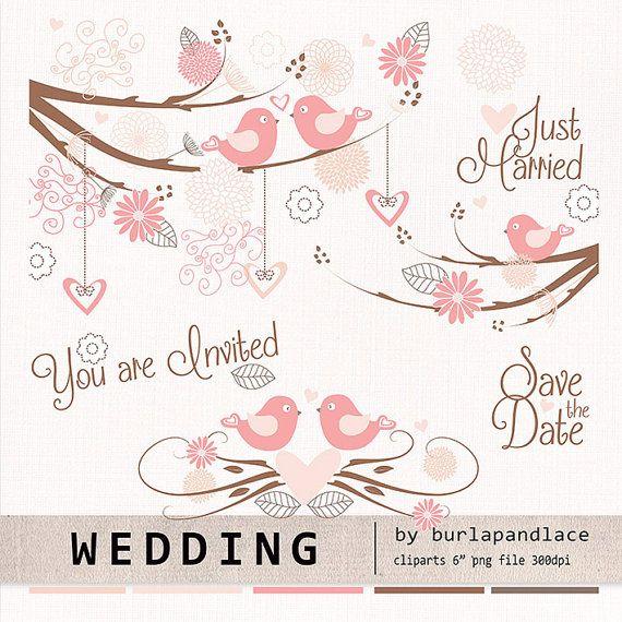 Wedding birds clipart flower flower clipart by 1burlapandlace, $4.99