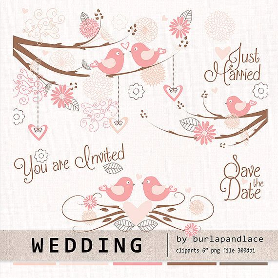 Wedding birds clipart flower flower clipart by 1burlapandlace