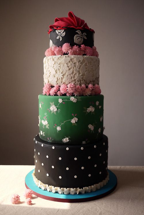By Charm City Cakes - love the idea of different designs on each tier