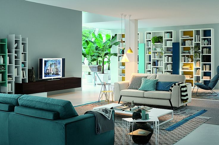 A touch of Yellow instantly brightens the room in a subtle and understated manner Modular Living Room Units Blend Italian Finesse With Modern Functionality