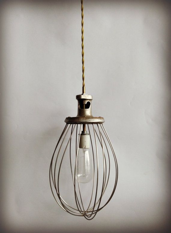 Vintage Pendant Lamp Whisk Industrial Art by ModernArtifactDecor, $85.00