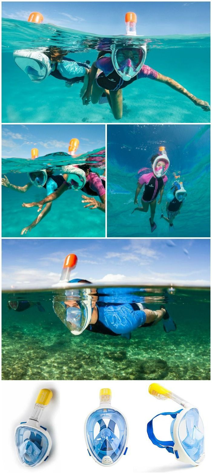 The Seaview 180° lets you breathe thru your nose and has no mouthpiece to bite on. With its revolutionary 180° wide view, it is almost like being able to breathe underwater.