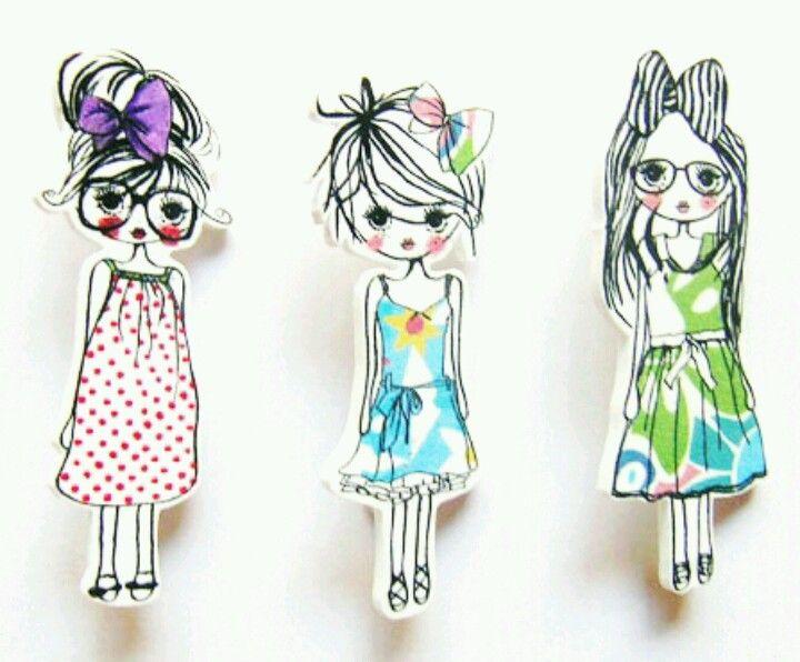 shrink plastic 'trend girls' broche Plastique fou dingue DIY