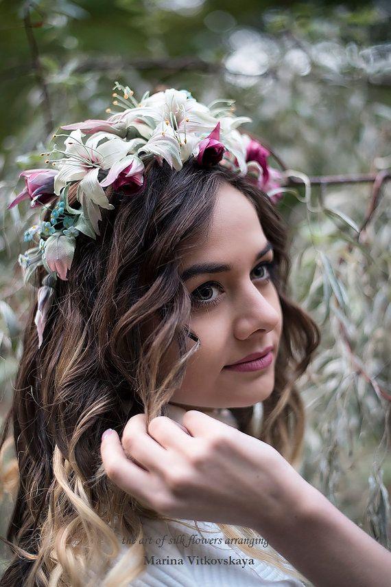 silk forget-me-nots silk flowers floral crown silk от KoloritEco