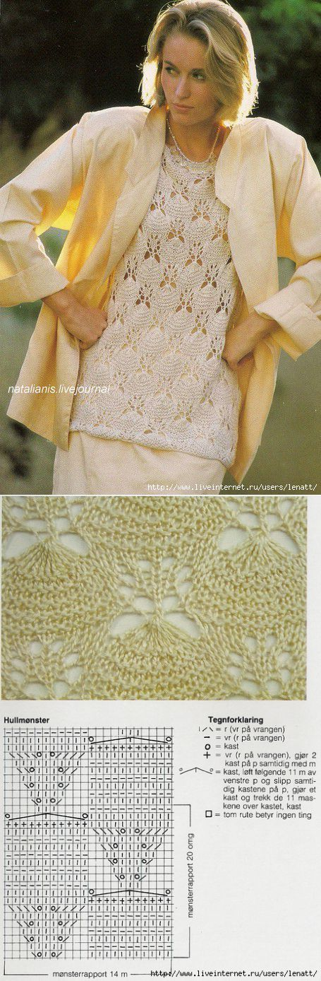 Спицы.Белый ажурный пуловер.