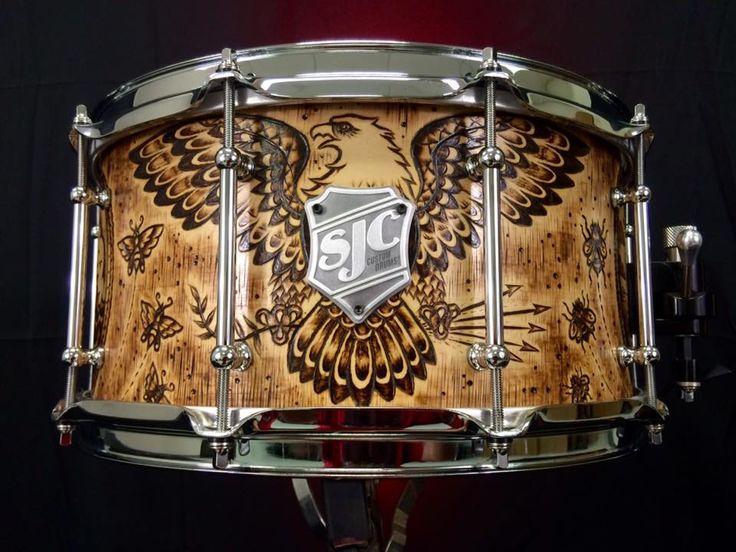 SJC Custom Drums Eagle and Ship Wood Burn Maple Snare Drum