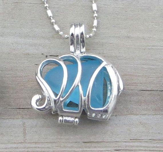 Caribbean Blue Sea Glass  Elephant Necklace Locket by WaveofLife, $18.00