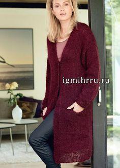 Бордовое пальто с прорезными карманами. Вязание спицами