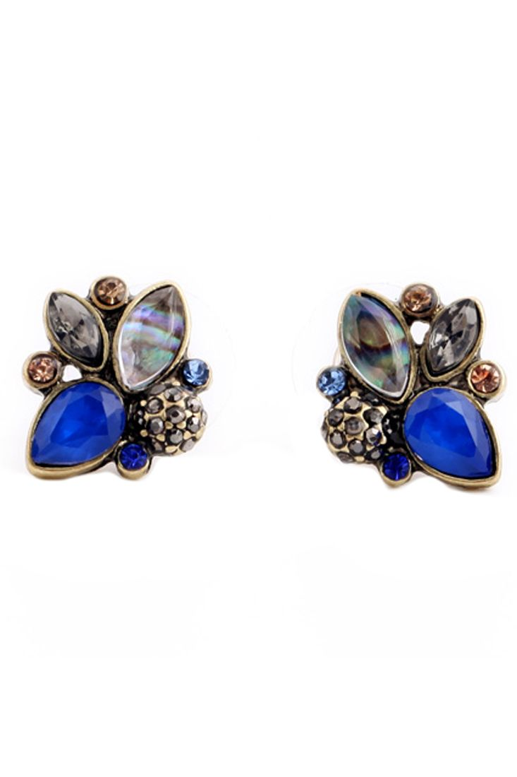 Chic Water Drop Blue Stud Earrings. Make you excited in these total stunners! These earrings have mulit-color water drop. Any time you want to amp up a dress. jumpsuit. or just jeans and a cami-- these are your go-to! Post backs.