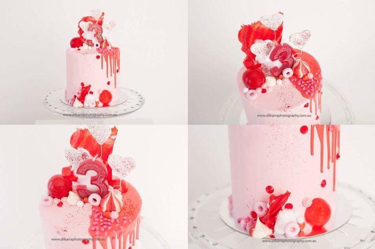 Pink & Red 3rd Birthday Cake
