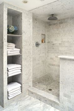 Marble subway tile shower...