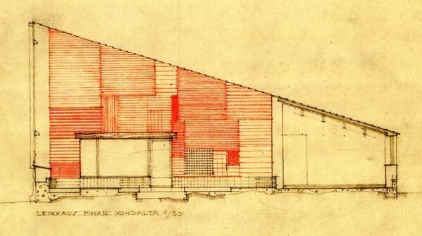 Alzado interor del PATIO de la casa Muuratsalo_Alvar Aalto