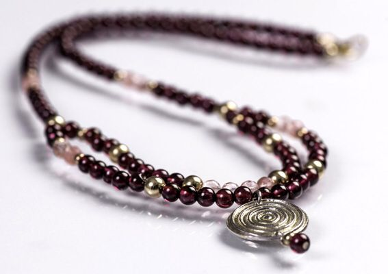 Designed and made by Nuit Nuit -Garnet, Rose Quarts and fine silver embellished with PMC Gold necklace