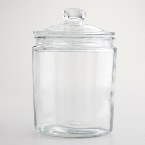 Half-Gallon Glass Storage Jar $10 Dog Treats, Cookies, Healthy Snacks, K-Cups, Tea, Cookie Cutters, Cupcake Liners, Etc. I want like ten of these :p
