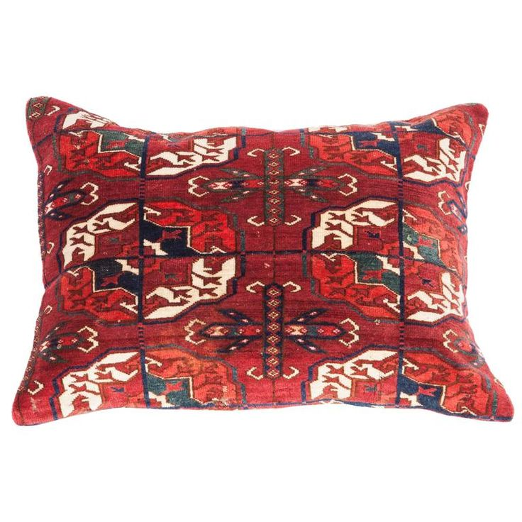 Antique Pillow with Velvet like Texture Made Out of a Turkmen Rug | From a unique collection of antique and modern central asian rugs at https://www.1stdibs.com/furniture/rugs-carpets/central-asian-rugs/