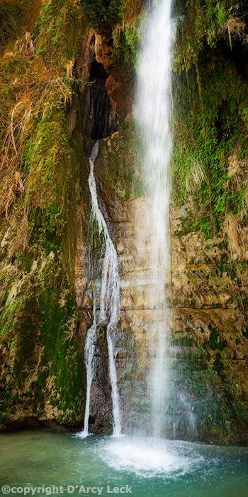 David's Fall at Ein Gedi. http://www.photographyartimages.com/Israel-Images/davids-fall-ein-gedi.htm