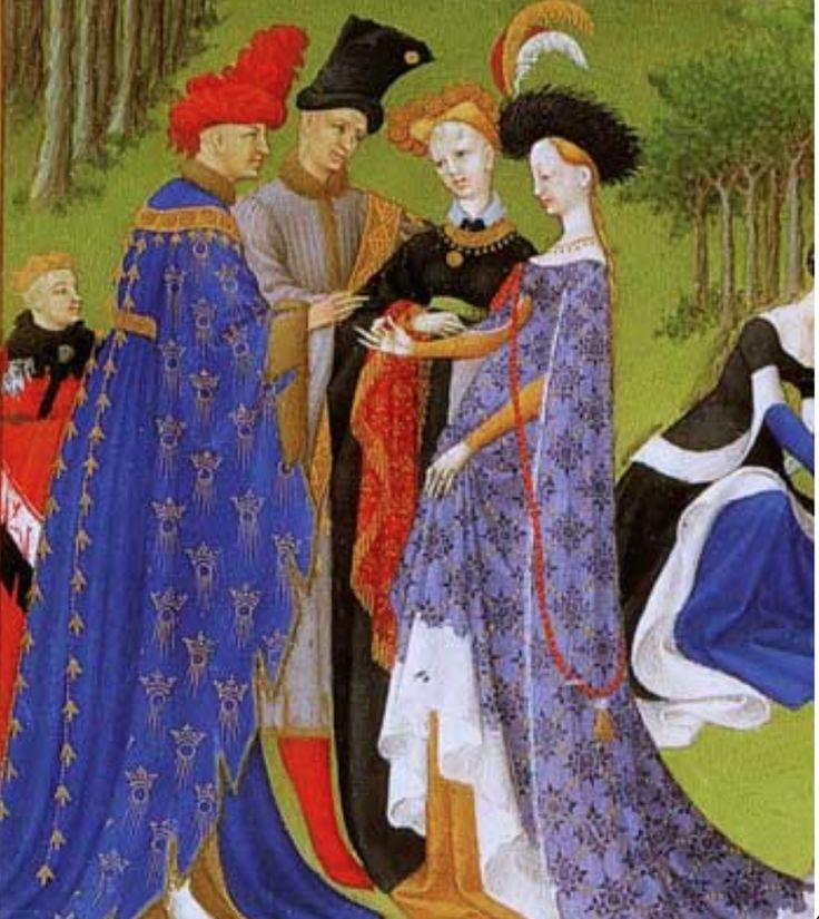 25. Très riches heures. Avril. Les fiancés (Charles d'Orléans et Bonne d'Armagnac) échangent les bagues devant deux témoins.