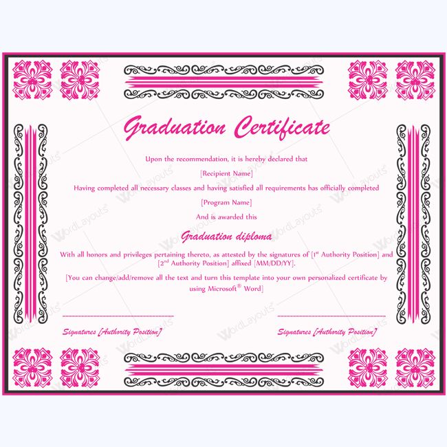 13 best Graduation Certificate Templates images on Pinterest - certificate template for microsoft word