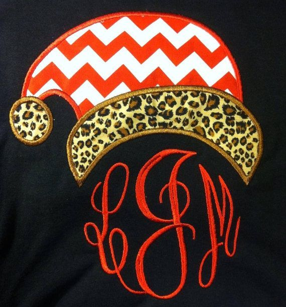 Christmas Santa hat monogram- chevron & cheetah print long sleeve
