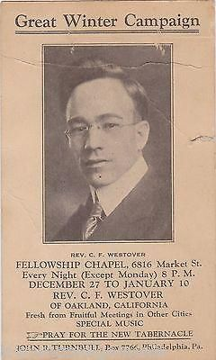 C. F. WESTOVER FELLOWSHIP CHAPEL GOSPEL TABERNACLE PHILA PA ANTIQUE RELIGIOUS
