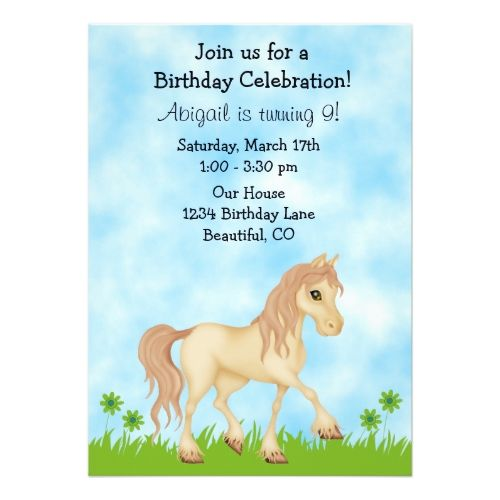 120 best horse or pony birthday invitations images on pinterest pretty cream horse girls birthday invitation filmwisefo Choice Image