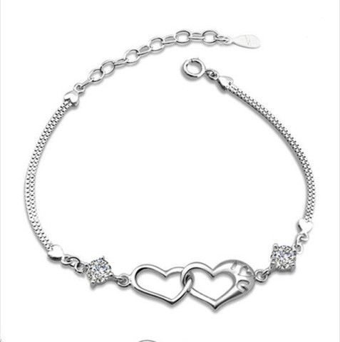 Silver Love Heart Bracelet