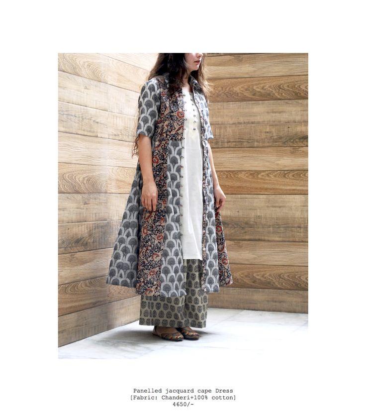 jacquard cape dress #cotton #chanderi #handcrafted #blockprints #springsummer #streetstyle #vintage #dresses #indowestern https://www.facebook.com/itrbykhyati/