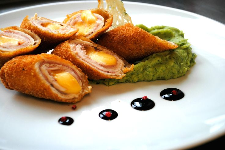 Fried chicken Cordon Bleu with cheese