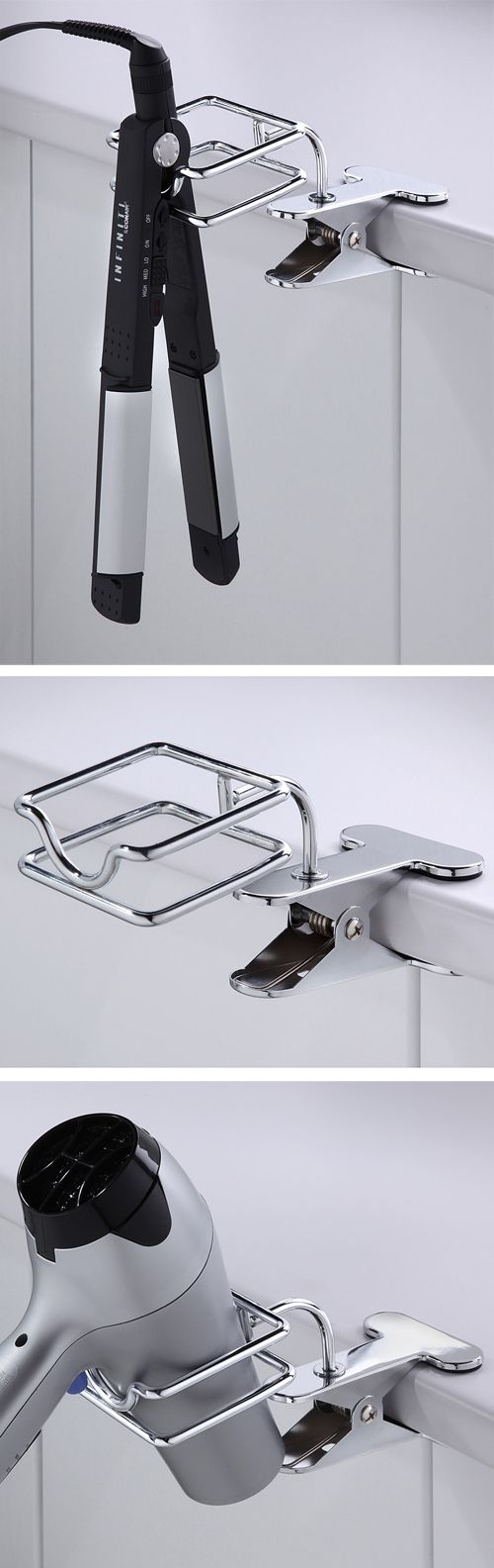 Clip on blow dryer & flat iron / hair straightener holder // genius! I need this product in my bathroom!