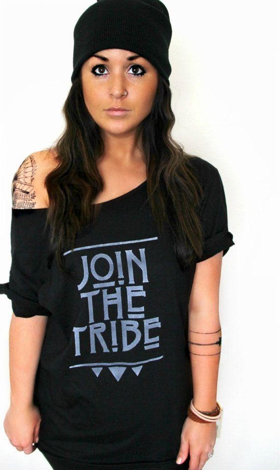 FREE SHIPPING- Join The Tribe, Tribal Shirt, Geometric Shirt, Off Shoulder Top, Oversized Shirt (women, teen girls)