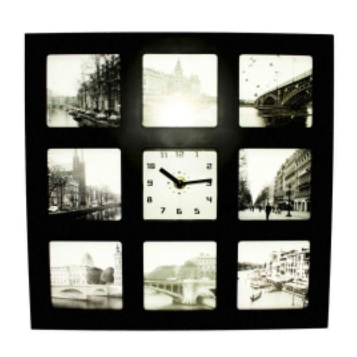 Relogio Despertador Com Porta Retrato Painel De Fotos Para 8 Fotos - R$29,11