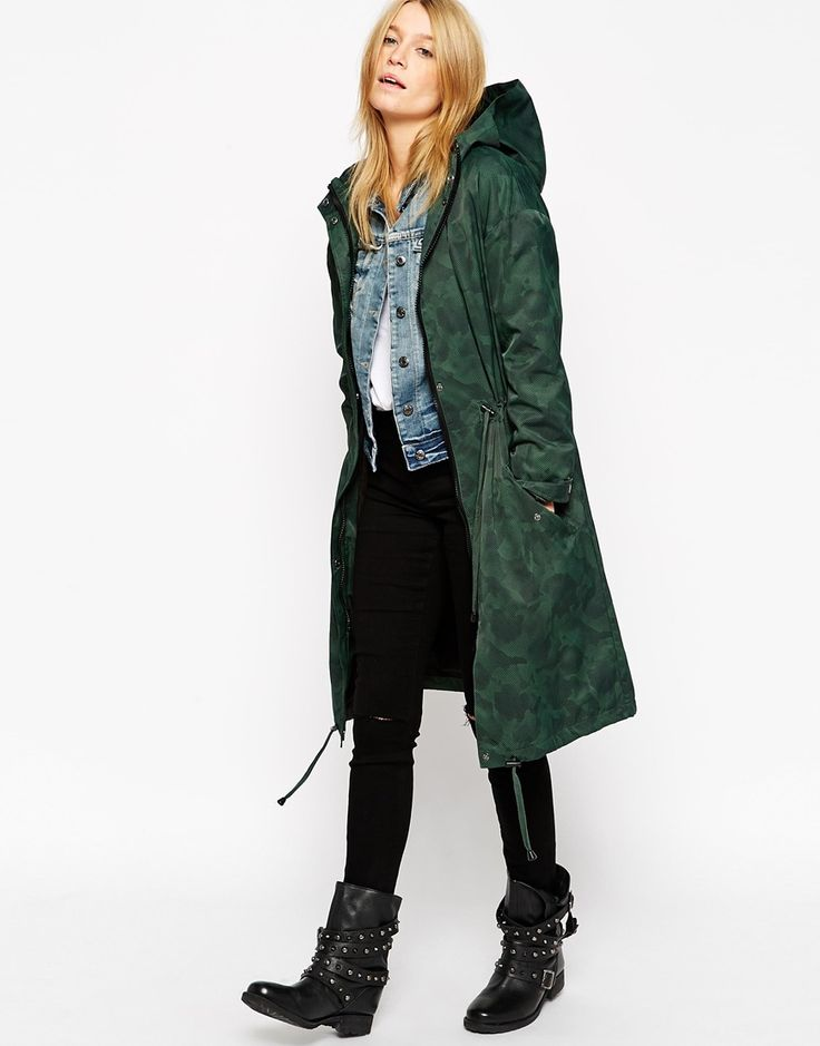The whole outfit  ASOS Rain Parka in Midi Length and Camo Print $118.59