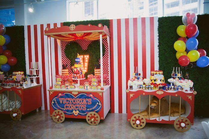 Circus Train Tables from a Mickey Mouse Circus Birthday Party via Kara's Party Ideas KarasPartyIdeas.com (39)
