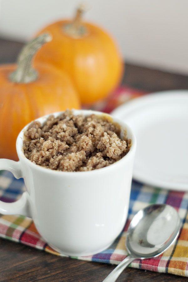 Pumpkin Coffee Streusel Cake in A Mug - Somewhat Simple