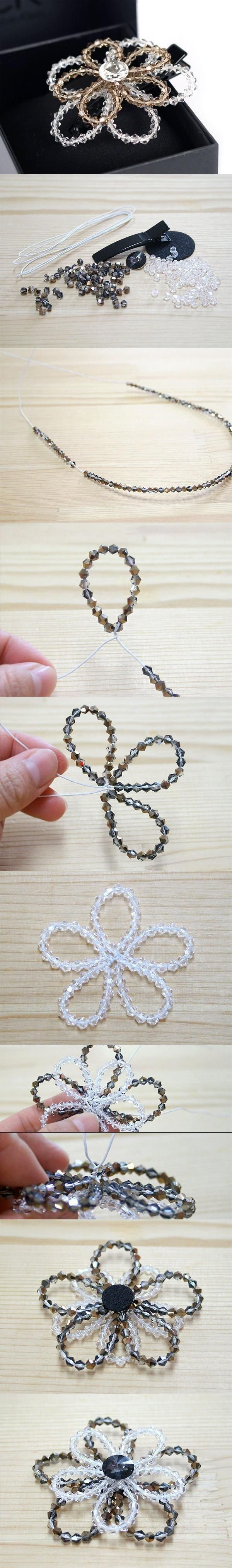 DIY Beaded Crystal Flower