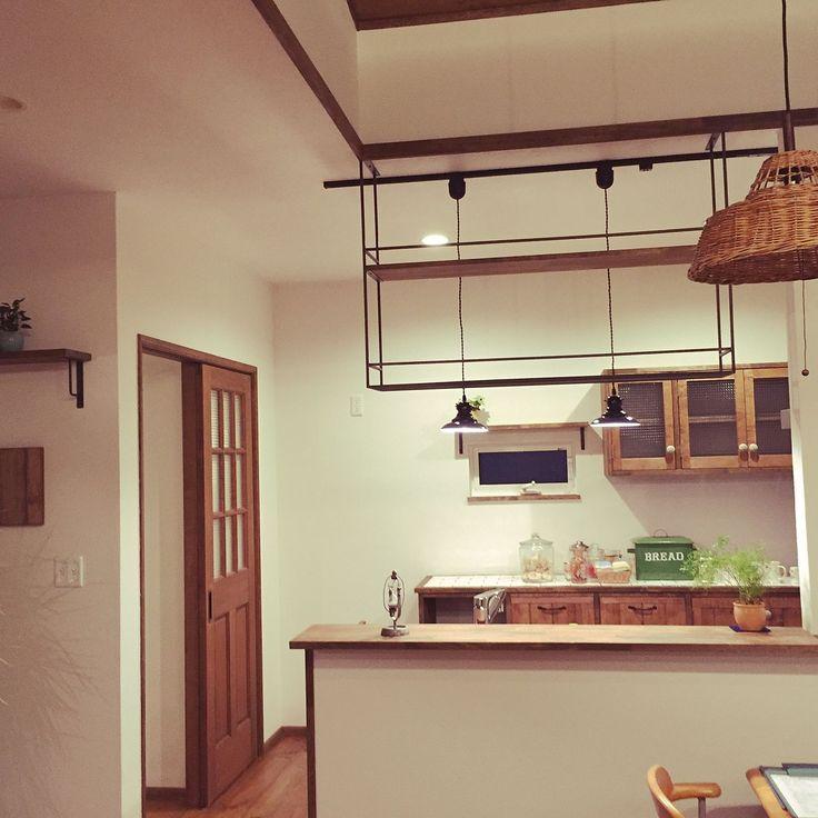 タイル貼り/食器棚 /ドア/アイアン雑貨/ウッドワンのキッチン/ウッドワン…などのインテリア実例 - 2016-06-10 20:24:39 | RoomClip(ルームクリップ)