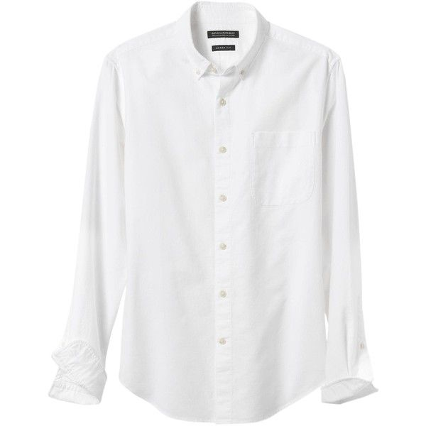 Banana Republic Mens Grant Fit Cotton Stretch Oxford Shirt ($45) ❤ liked on Polyvore featuring men's fashion, men's clothing, men's shirts, men's casual shirts, mens casual button down shirts, banana republic mens shirts, mens button down collar shirts and mens button shirts