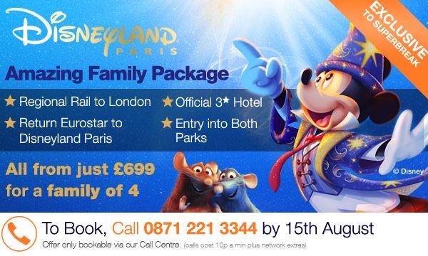 Superbreak Disneyland Paris + Hotel + rail and Eurostar offer promotional graphic. Designed by me for Superbreak.com