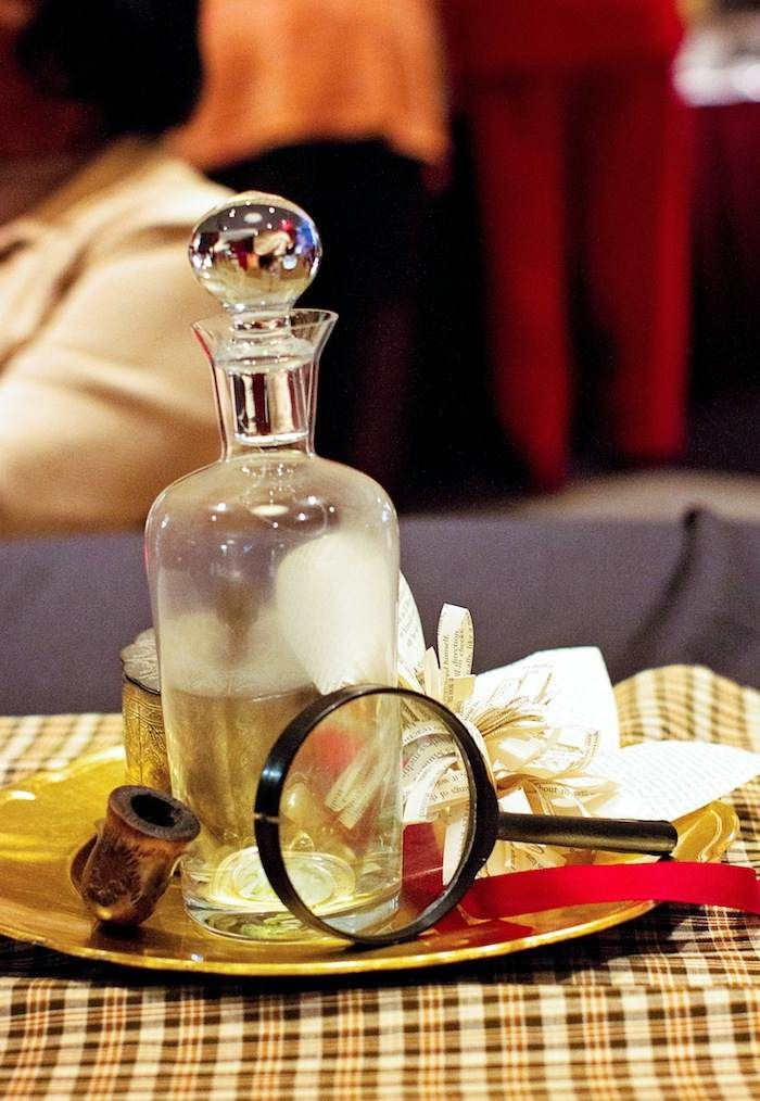Sherlock Holmes themed party with Such Great Ideas via Kara's Party Ideas KarasPartyIdeas.com #DetectiveParty #MurderMystery #PartyIdeas #Su...