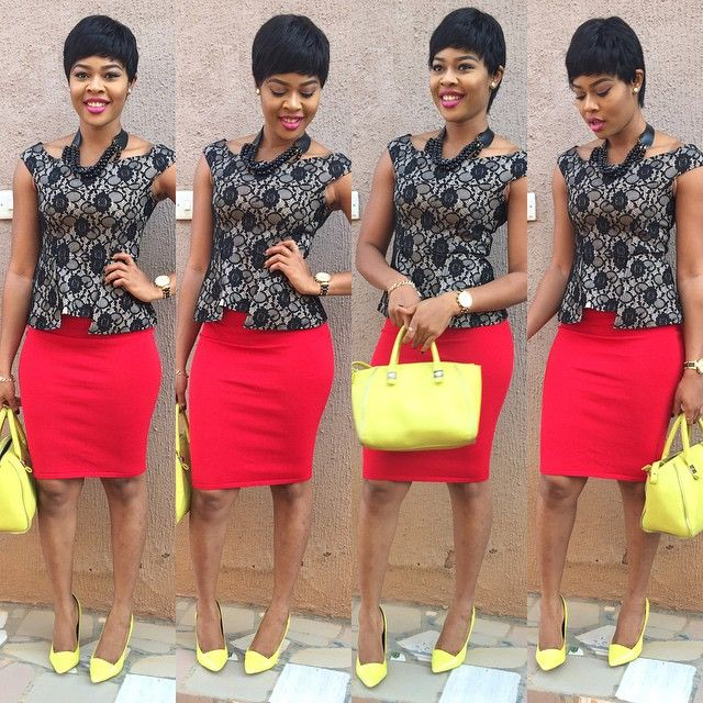 Red Skirt Black Top Yellow Bag And Yellow Shoes Collages From Nigerian Fashion Police