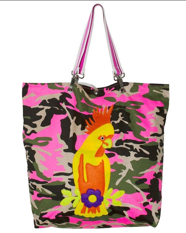 Bag in camouflage print with parrot appliqué