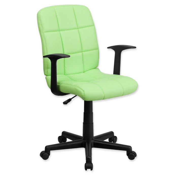 Flash Furniture Mid Back Quilted Vinyl Office Arm Chair In Green 78 99 Quilted Chair Features A Waterfall Front Seat 360 Degree Swivel Pneum