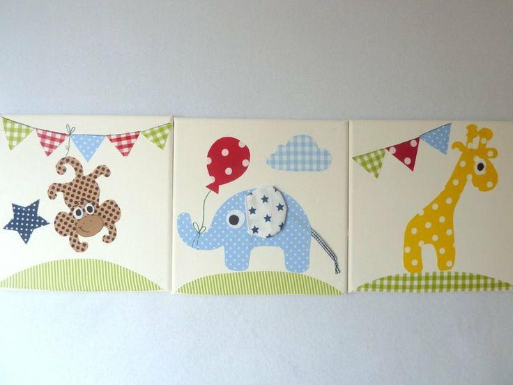 Drei wunderschöne Stoffbilder auf Keilrahmen für´s Kinderzimmer! Motive: Elefant mit Luftballon Giraffe + Wimpelkette Affe + Wimpelkette ...