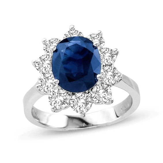 Oval Blue Sapphire And 1 1 2 Ct T W Diamond Frame Engagement Ring In 14k White Gold White Gold Engagement Rings Blue Sapphire